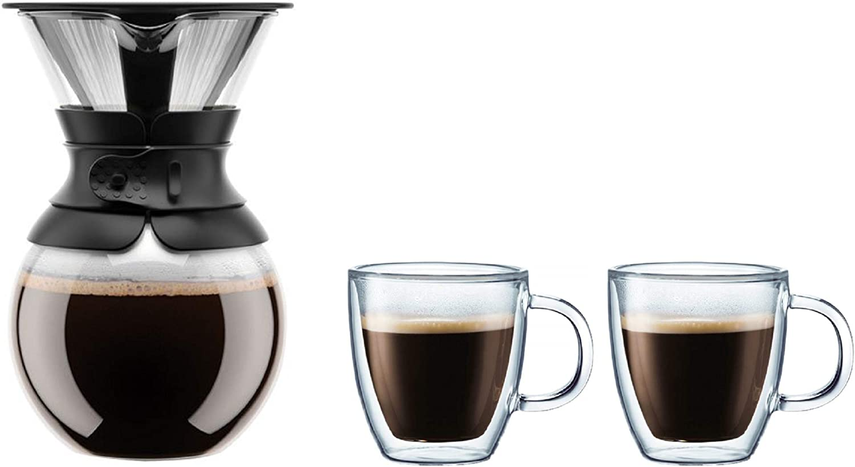 Bodum Cafetera con filtro permanente, 1 L/34 oz, banda negra con 2 piezas jumbo, doble pared aislada, 0.45 Ltr/15 oz, 3 piezas Set: Amazon.es: Hogar
