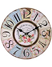 Shabby Chic Floral Patchwork Clock - Vintage Wall Clocks for Living Room, Bedroom and Kitchen - Multi-Coloured Cute Retro Style Clock Wall