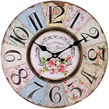 Shabby Chic Floral Patchwork Clock Vintage Wall Clocks For Living Room Bedroom And Kitchen Multi Coloured Cute Retro Style Clock Wall Amazon Co Uk Kitchen Home
