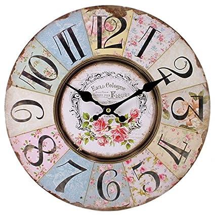 Something Different Reloj de Pared de Shabby Chic, diseño Floral de Retazos, Vintage para