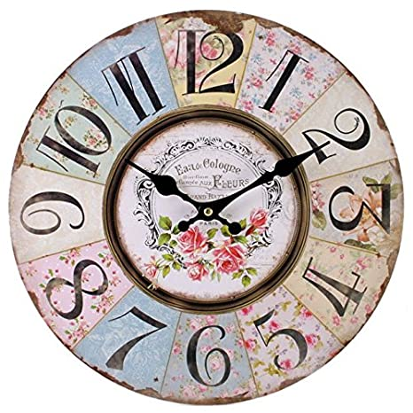 Something Different Reloj de Pared de Shabby Chic, diseño Floral de Retazos, Vintage para Sala de Estar, Dormitorio y Cocina,, Bonito, de Estilo Retro: ...