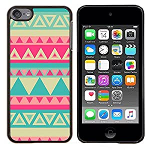 - teal yellow pink lime pink Indian pattern - - Modelo de la piel protectora de la cubierta del caso FOR Apple iPod Touch 6 6th Generation RetroCandy