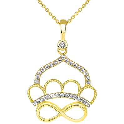 Amazon.com: Sólido 14 K oro circonita Royal Queen corona con ...