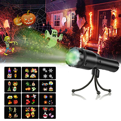 Holiday LED Projector, SENDOW 12 Slides Decorative Lights for Halloween/Christmas/Birthday Party Lights, Rechargeable Handheld Flashlight with Tripod