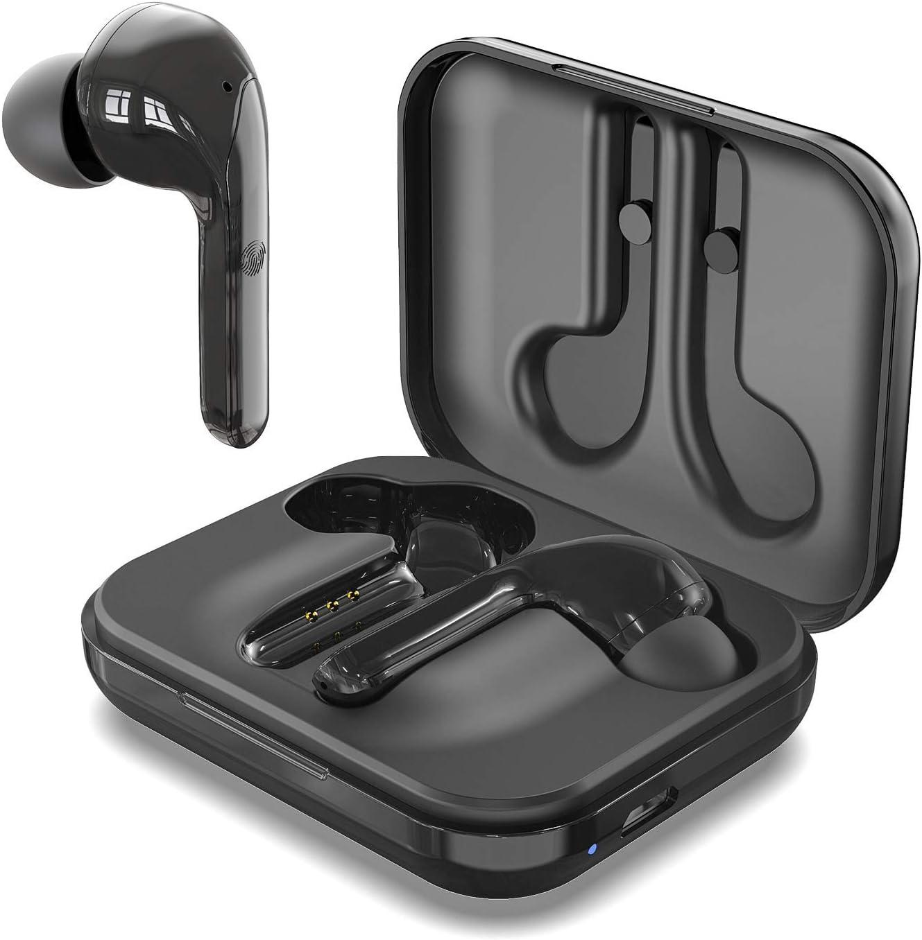 Arbily Auriculares Inalámbricos, Bluetooth 5.0 con Caja de Carga Sonido Estéreo HI-FI Cancelación de Ruido Control Táctil, Soporte Aptx Calidad de Sonido, para Correr Deportivo al Aire Libre (Negro)