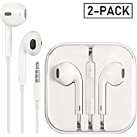 Deepcomp Earbuds/Earphones/Headphones, Premium in-Ear Wired Earphones with Remote & Mic Compatible Apple iPhone 6s/plus/6/5s/se/5c/iPad/Samsung/MP3(White 2Pack)