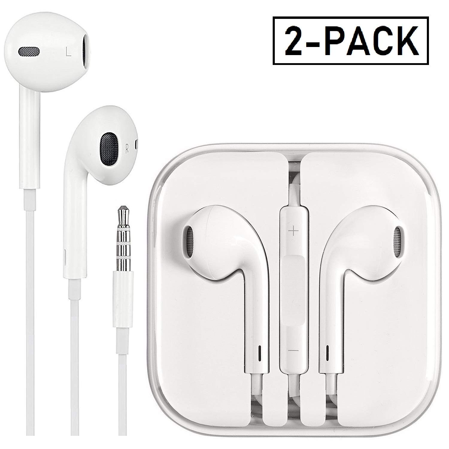 Earbuds/Earphones/Headphones, Premium in-Ear Wired Earphones with Remote & Mic Compatible Apple iPhone 6s/plus/6/5s/se/5c/iPad/Samsung/MP3(White 2Pack) by PUJIN