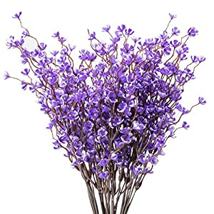 Vidillo Artificial Fake Flowers 4 Pcs Plum Blossom Flowers Arrangement Home Wedding Outdoor Festive Party Decor UV Resistant Plants Shrubs for Window Box Patio Yard Indoor Garden Office De 119