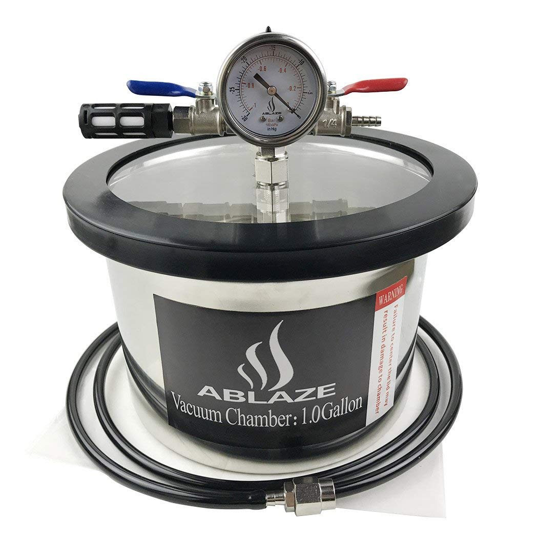 ABLAZE 1 Gallon Gal Vacuum Chamber Stainless Steel Degassing Urethanes Silicone Epoxies Lid Kit by Ablaze