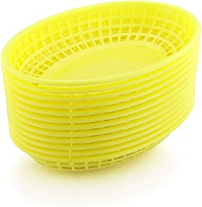 New Star Foodservice 44195 Fast Food Baskets, 9 1/4 x 6 Inch Oval, Set of 36, Yellow
