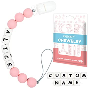 boy// girl Personalised Dummy Clip Gift Silicone
