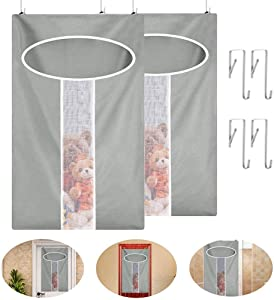 Aujelly Door-hanging laundry hamper, 2Pack 72x48cm Grey Zip laundry hamper with Stainless Steel Hooks, Reusable Door-Hanging Oxford Fabric Hanging laundry Bag