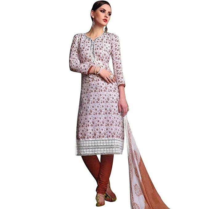 Amazon.com: Readymade de algodón blanco bordado Salwar ...