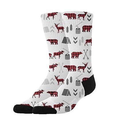 15d8422dfe22a5 Amazon.com  KYWYN Women s Buffalo Plaid Woodland Moose Winter Super Soft  Warm Cozy Slipper Socks
