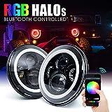 Xprite 7'' Inch Round Bluetooth RGB 90W 7400 Lumens Hi/Lo Beam Cree LED Headlights w/ Halo Ring DRL For Jeep Wrangler JK TJ LJ 1997 - 2017