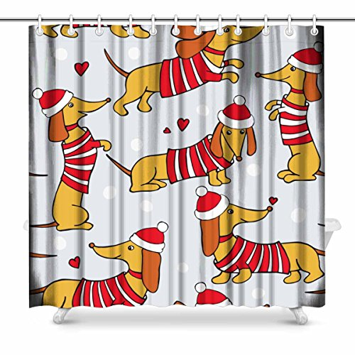 InterestPrint Christmas with Image Cartoon Dogs Dachshund in Santa Hats and Striped Jersey Bathroom Decor Shower Curtain Set with Hooks, 72 Inches Long