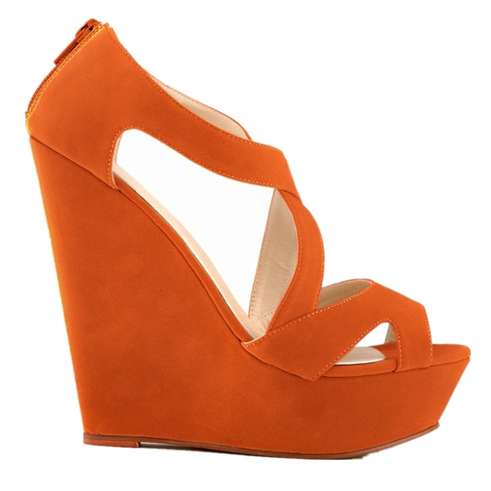 24XOmx55S99 Slope with Thick-Soled High-Heeled Sandals Sexy Fashion Women's Peep-Toe Women's Fashion Shoes 37/6.5?B(M)?US?Women|Orange B07BK3SCCQ 58b184
