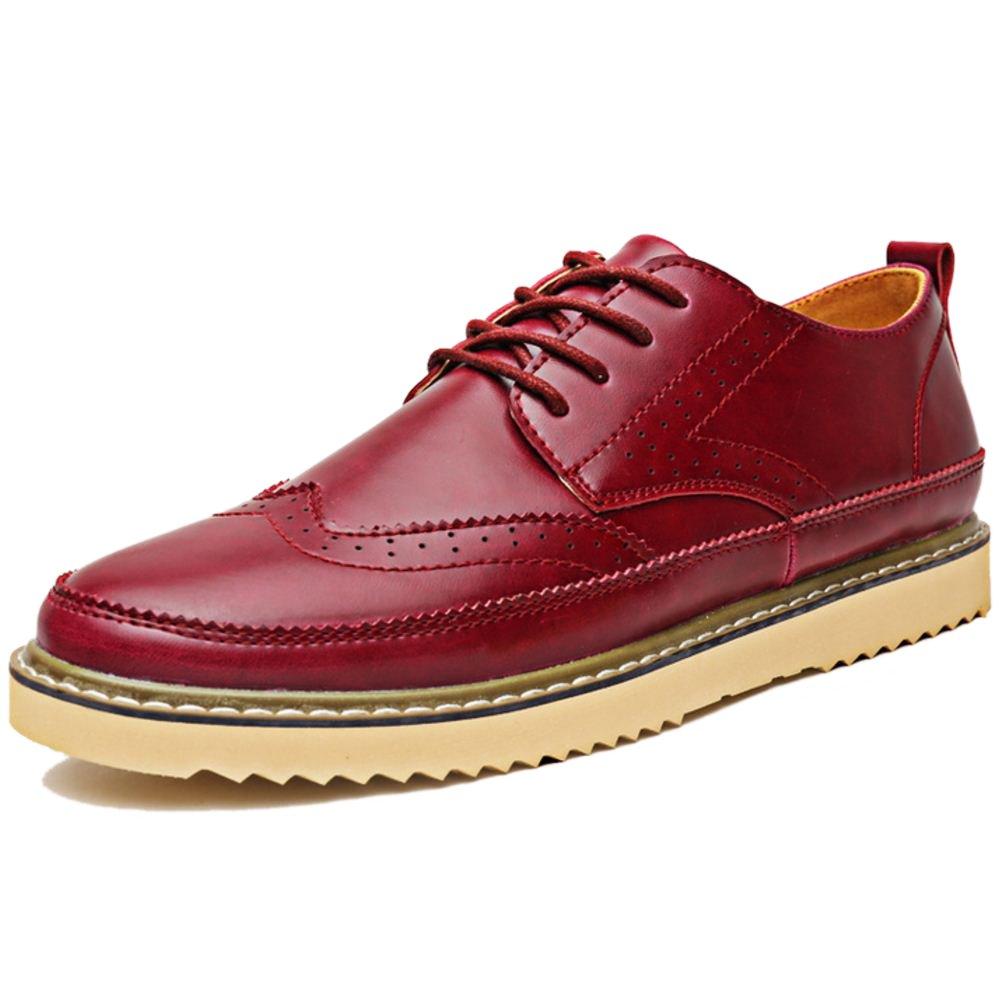 RAZAMAZA Herren Classic Brogue Wing tip Lace Schuhe Wine Red