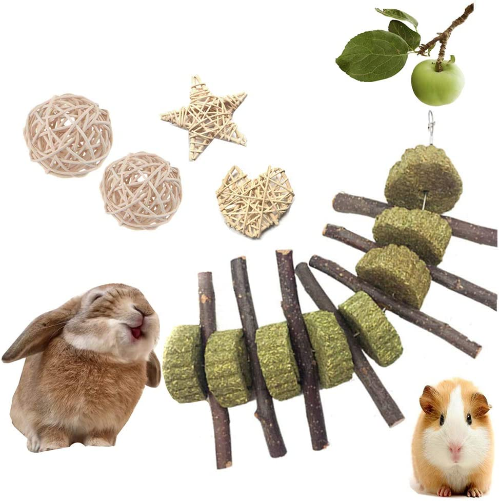 VCZONE Bunny Chew Toys, Rabbit Pet Tooth Chew Toys Organic Natural Apple Wood Grass Cake Ideal for Bunny, Chinchilla, Guinea Pigs, Hamsters Teeth Grinding (5 Pack)