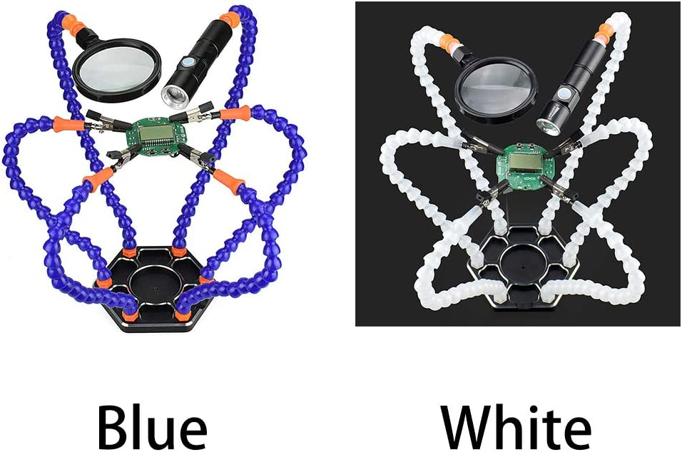 Welltop Multifunctional Soldering Helping Hands with 3pcs Flexible Arms for Circuit Board Welding Auxiliary Tools