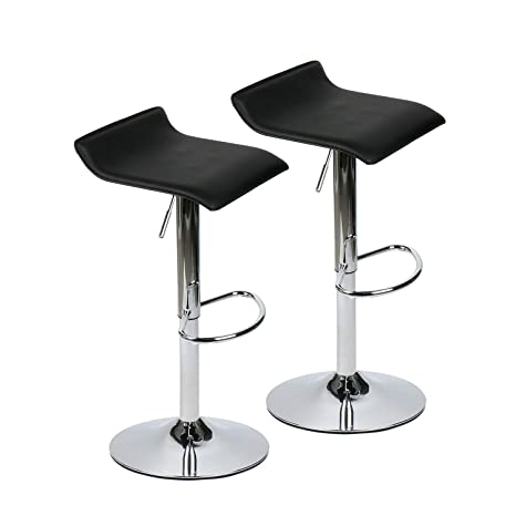 Fine Set Of 2 Adjustable Swivel Barstools Pu Leather With Chrome Base Gaslift Pub Counter Chairs Black Inzonedesignstudio Interior Chair Design Inzonedesignstudiocom