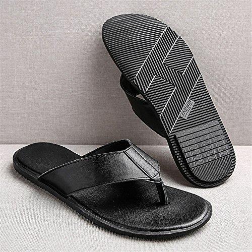Sandalias Negras Chancletas Black Blandas Planas Verano Antideslizantes Cuero Chancletas 2018 Playa de Sandalias Genuino Casual Zapatillas de Mens de Enw6q1T