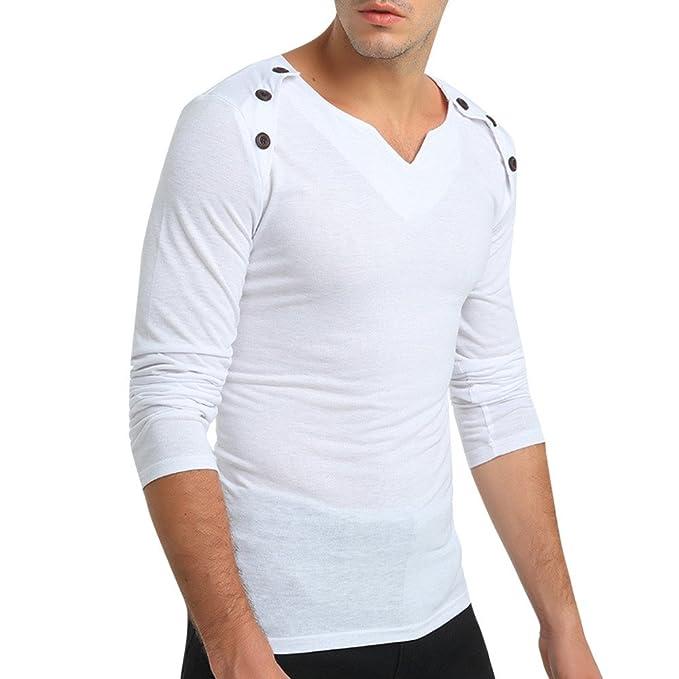 Ropa Hombre Otoño Color Puro Manga Larga Gargantilla Pullover Sudaderas Top Blusa Polos Hombre Manga Larga Casual: Amazon.es: Ropa y accesorios