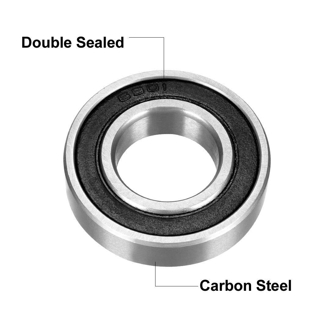 2RS Deep Groove Roulement /à billes double Sealed 1180901 Carte de Source 6901 12/mm x 24/mm x 6/mm en acier au carbone Roulements lot de 2