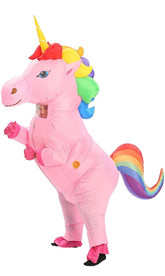 JYZCOS Disfraz de Unicornio Inflable con Caballo de Cuerno ...