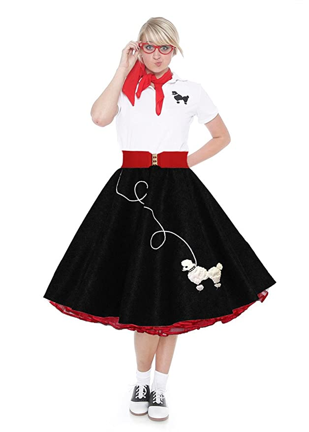 50s Costumes | 50s Halloween Costumes  Adult 7 Piece Poodle Skirt Costume Set Black and Red Large $109.99 AT vintagedancer.com