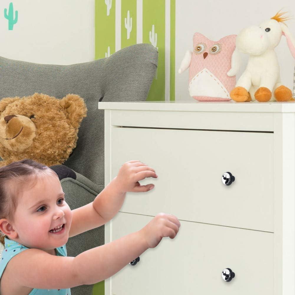 T/ête de cerf noire 4 pi/èces Bouton de meuble en verre cristal bouton de tiroir armoire boutons de porte avec vis meilleur cadeau de cadeau de f/ête cadeau pour enfants 3.5/×2.8cm