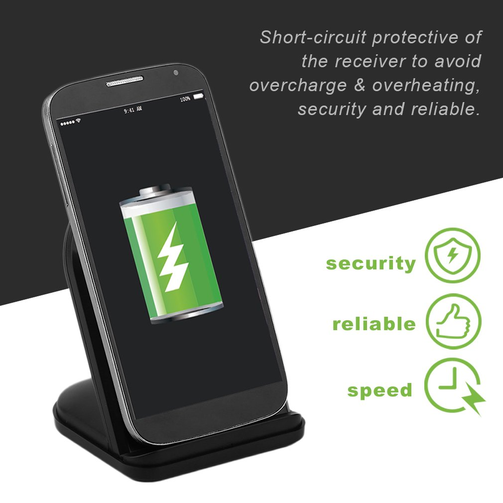 ASDOMO Fast Wireless Charger, UCD-FWC1 Portable Size Universal Fast Charging Charger Wireless Phone Charger Stand Dock For Android For IOS