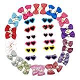 CSPRING 40PCS/20Pairs Mix Styles Cute Puppy Dog Hair Bows Topknot Small Pet Grooming Products Hair Accessories with Rubber Bands/Clips