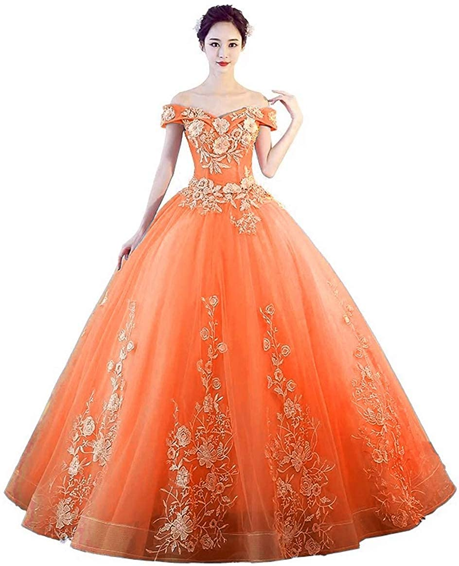 orange Jingliz Off The Shoulder Quinceanera Dresses Applique Masquerade Ball Gowns Prom Dresses