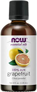 NOW Essential Oils, Grapefruit Oil, Sweet Citrus Aromatherapy Scent, Cold Pressed, 100% Pure, Vegan, Child Resistant Cap, 4-Ounce