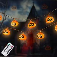 DAYLIGHTIR 20 LED Pumpkin Halloween String Lights, Jack-O-Lantern Night Lamp Decoration for Thanksgiving Halloween…
