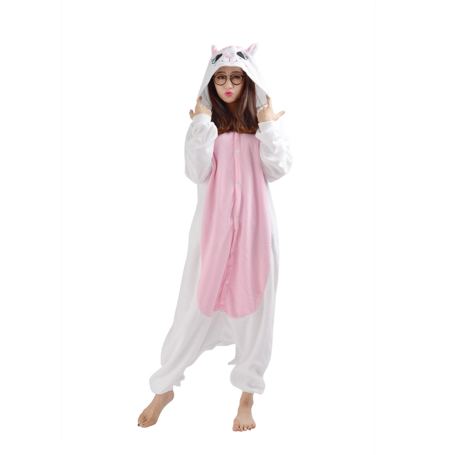 Cute On Adult Anime Sleepsuit Pajamas Costume Animal Onesie Cat Cosplay Size XL White