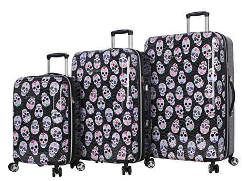 (BETSEY JOHNSON Skull Party 3 Piece Expandable Hardside Spinner Luggage Set)