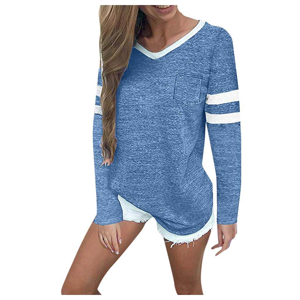 SHUSUEN Womens Long Sleeve Round Neck T Shirts Color Block Striped Causal Blouses Tops Blue by SHUSUEN