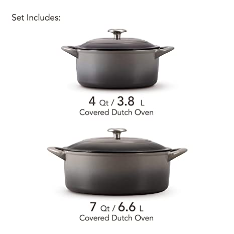 Amazon.com: Tramontina 80131/678DS Enameled Cast Iron Covered Dutch Oven Combo, 2-Piece (7-Quart & 4-Quart), Slate Gray: Kitchen & Dining