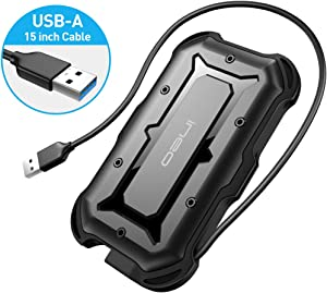 ineo 2.5 inch USB 3.0 Type A Rugged Waterproof & Shockproof IP66 External Hard Drive Enclosure for 2.5 inch 9.5mm & 7mm SATA HDD SSD [T2566-II]