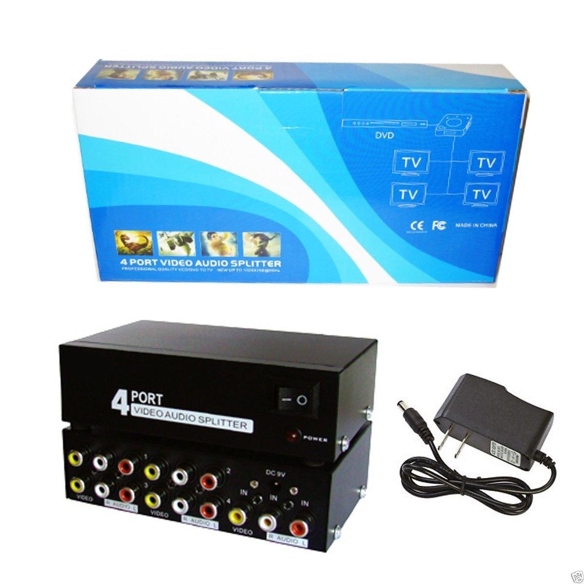 MSS 290307 4 Way Audio Video (3RCA) Splitter