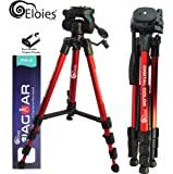 Eloies® Jaguar 3 Way Pan Head Photo Video Heavy Built Tripod for Mobile Phones and Cameras Max Height 4.75 Foot Free Mobile Tripod Clamp Worth 189Rs. 😍 ((RED))