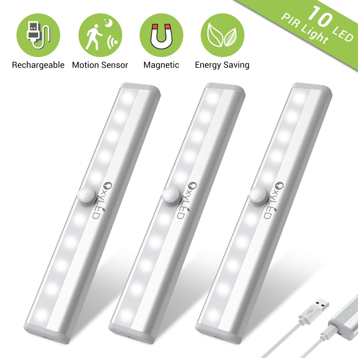 Under Cabinet Lighting, OxyLED USB Rechargeable Motion Sensor Closet Lights, Wireless Magnetic Stick-on Cordless 10 LED Night Light Bar for Closet Cabinet Wardrobe Stairs, 3 Pack by OxyLED