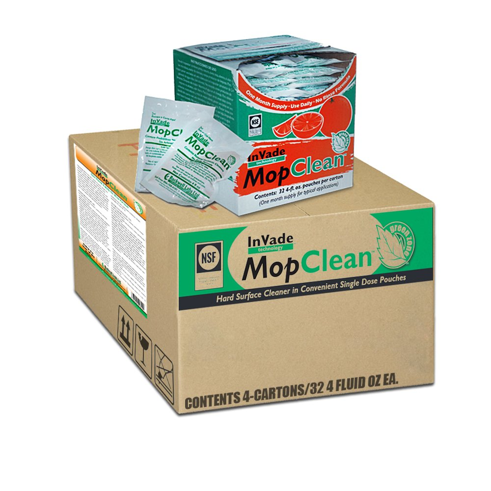 Invade Mop Clean Microbial Solution - 1 Carton (4 Boxes/32- 4 fl. oz packets ea.) by Rockwell (Image #1)