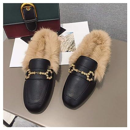OMFGOD Señoras Moda Zapatillas Comodidad Peletería Artificial Cuero Talón De Caucho Cuadrado Ocio Muller Zapatos,