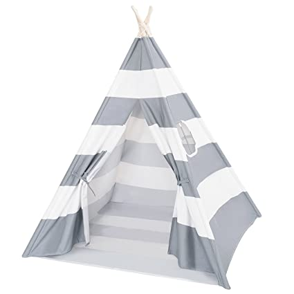 premium selection 12f12 d94b1 DalosDream Teepee Tent for Kids-100% Natural Cotton Canvas Children  Tent-Grey Striped