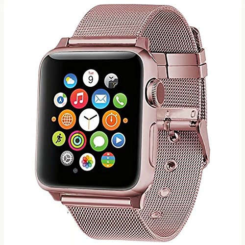 Gold Mesh Buckle (Transhare Stainless Steel Mesh Replacement Band with Metal Buckle for Apple Watch Series 3, Series 2, Series 1, Sport, Edtion (Rose Gold 38mm))