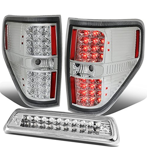 For 09-14 Ford F150 Full LED Tail Light+Dual-Row 3Rd Third Brake/Cargo Lamp Chrome/Clear
