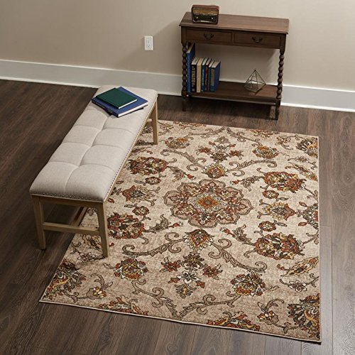 Home Dynamix Tremont Laurel Area Rug | Wilton Woven Indoor Rug | Floral Pattern, Shades of Orange and Cream | Soft and Durable, Cream-Orange, 5'3